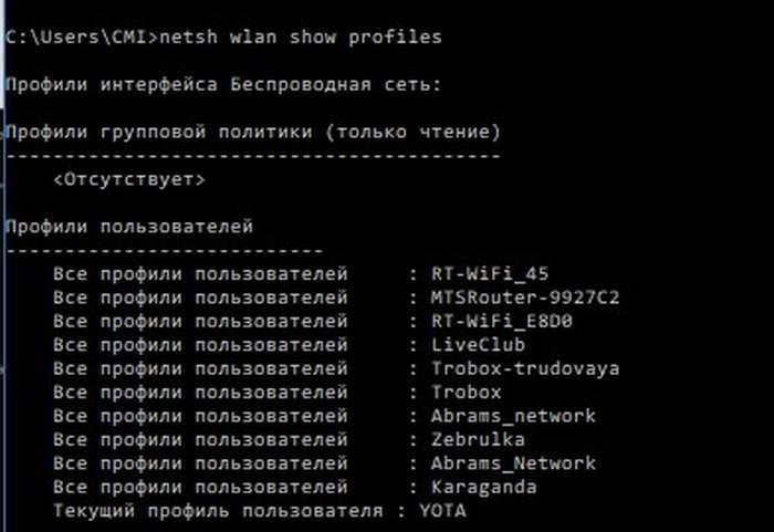 netsh wlan show profiles