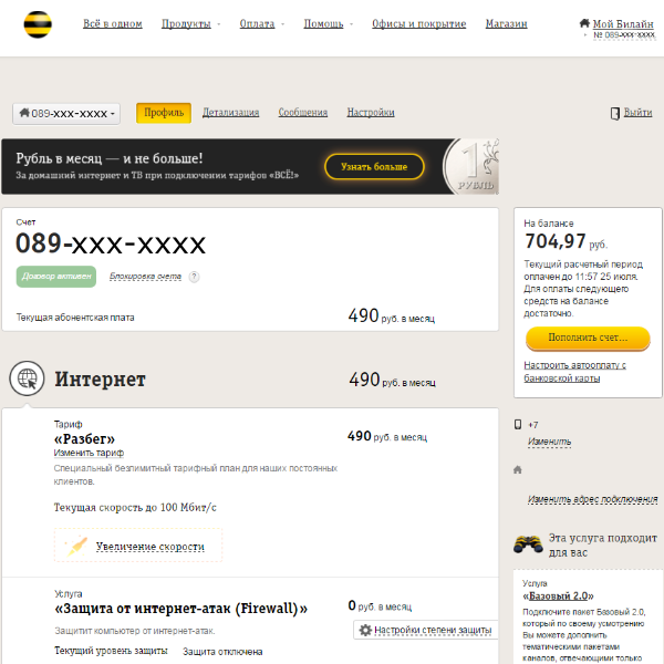 обещанный платеж билайн на домашний интернет