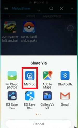 Отправка с помощью Mi Drop