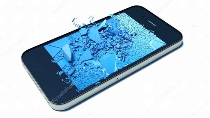 повреждённый телефон